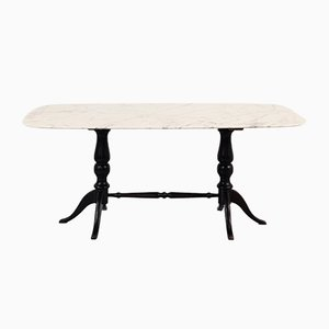 Mid-Century Italian Carrara Marble Table with Ebonised Wooden Base