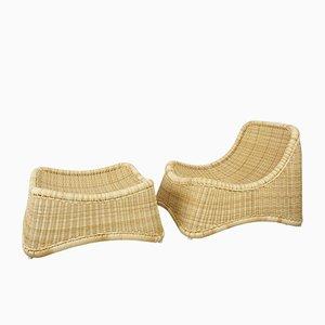 Dänischer Sessel & Fußhocker von Nanna Ditzel, 2er Set
