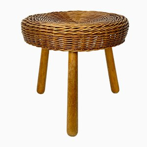 Wicker Side Table or Stool by Tony Paul, 1950s