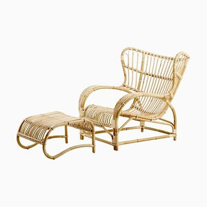 Danish Rattan Chair and Ottoman by Viggo Boesen,1930s, Set of 2