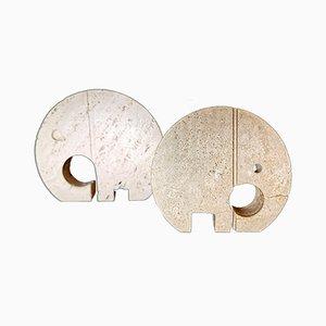 Grand & Petit Éléphant Style Ornements en Travertin Style Minimaliste de F.lli Mannelli, Set de 2