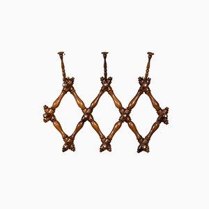 Antique Scottish Edwardian Beech Folding Wall Coat & Hat Rack, 1910s