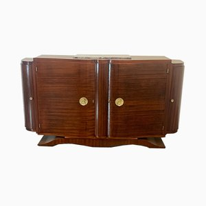 Vintage Jules Leleu Style Mahogany Credenza with Bronze Elements