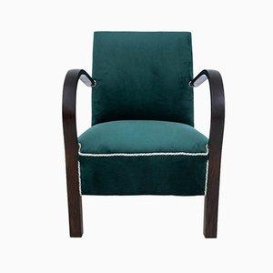 Polish Art Deco Bottle Green Armchair, 1940s