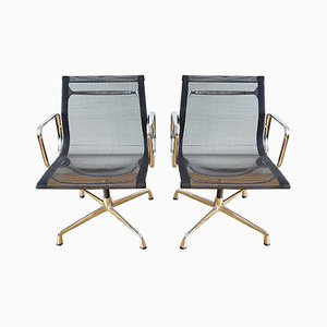 Aluminum Model EA108 Swivel Dining Chair by Charles & Ray Eames for Vitra, 1980s, Set of 2