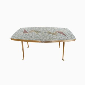 German Mosaic & Brass Coffee Table by Berthold Müller-Oerlinghausen, 1950s