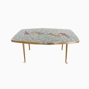 Table Basse en Mosaïque & Laiton par Berthold Müller-Oerlinghausen, Allemagne, 1950s