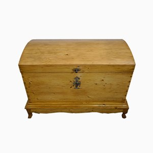 Big Biedermeier 2-Part Linen or Dowry Chest with Round Lid, 1830s