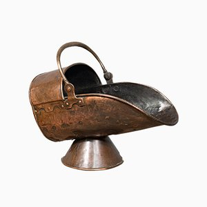 Antique Victorian Copper Helmet Coal Scuttle, 1880s