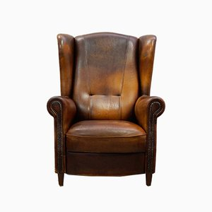Sheep Leather Wing Chair by Joris, 1980s
