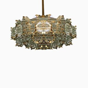 Gold Plated Brass & Faceted Glass Chandelier from Kinkeldey, 1960s
