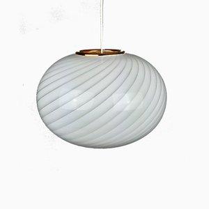 Italian Retro Swirl Glass Pendant Lamp in White & Gold, 1970s