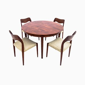 Danish Teak Table & Chairs by Niels O. Møller, 1960s, Set of 5