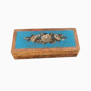 Vintage Biedermeier Beadwork Jewelry Box / Pin Box