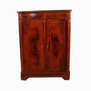 Small Mahogany 2-Door Wardrobe with Marble Top, 19th Century