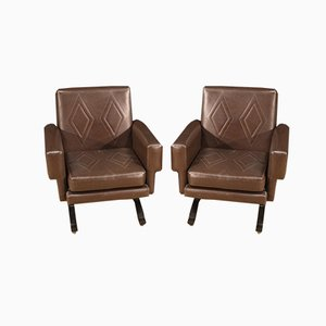 Italian Skai Armchairs, Set of 2
