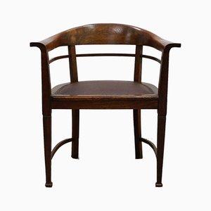 Sedia da scrivania Art Nouveau in quercia e pelle, anni '10