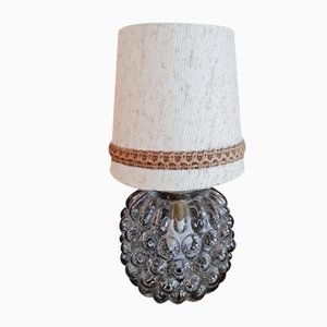Clear Bubbled Pressed Glass Table Lamp with Brass Mount and Beige Fabric Shade, 1970s