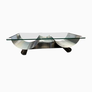 Stainless Steel and Glass Coffee Table by François Monnet for Kappa, 1970s