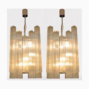 Große Glas Kronleuchter von Doria Leuchten, 1960er, 2er Set