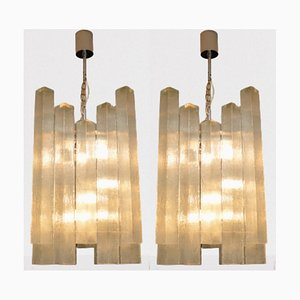 Large Glass Chandeliers from Doria Leuchten, 1960s, Set of 2