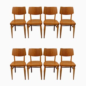 Wooden Dining Chairs 1950s, Set of 8