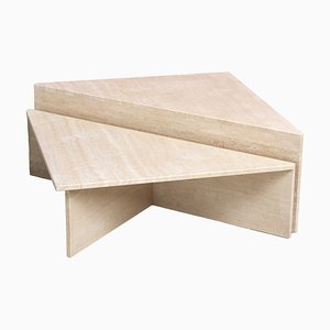 Postmodern Architectural Triangular Travertine Coffee Tables by Up & Up, 1970, Set of 2