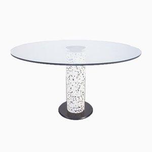 Tavolo da pranzo rotondo in vetro e pietra, anni '80