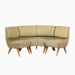 Modulares Dreiteiliges 3-Teiliges Sofa aus Holz und Stoff von Pier Luigi Colli, 1950er