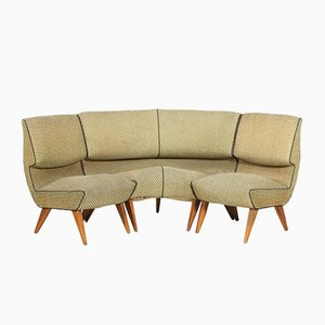 Wood and Fabric 3-Piece Modular Sofa by Pier Luigi Colli, 1950s