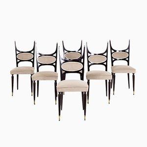 Italienische Paolo Buffa Stil Esszimmerstühle, 1950er, 6er Set