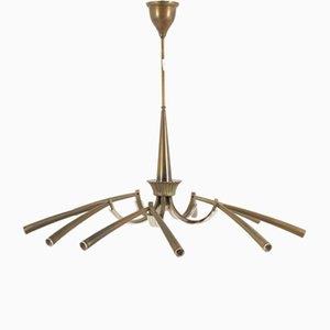 Brass and Lacquered Metal 11-Light Chandelier from Lumi, 1950s