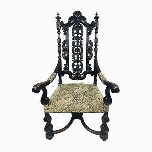 Antiker barocker geschnitzter Thron Armlehnstuhl mit hoher Rückenlehne