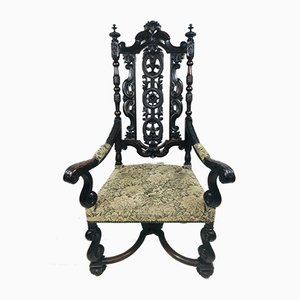 Antique Baroque Carved High Back Throne Armchair