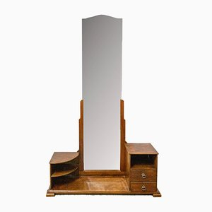 French Psyche Vanity Cabinet with Full-Length Mirror, 1930s