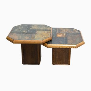 French Wood & Slate Stone Gigogne Coffee Table, 1980s, Set of 2