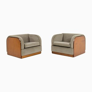 Modernist Italian Style Lounge Chairs, 1940s, Set of 2