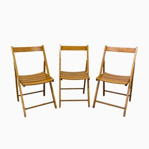 Mid-Century French Foldable Garden Chairs by Clairitex, Set of 3