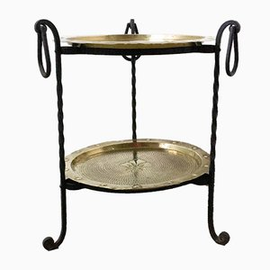 French Wrought Iron Side Table with 2 Removable Copper Trays, 1960s
