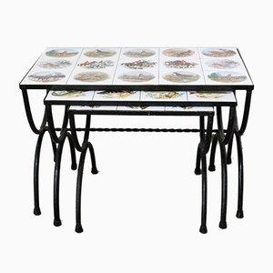 Tables Gigognes Mid-Century avec Plateau Mosaïque de Chasse & Poissons, France, Set de 3