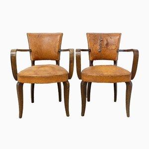 Französische Art Deco Leder Bridge Stühle, 1930er, 2er Set