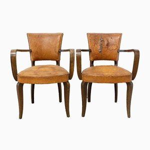 French Art Deco Leather Bridge Chairs, 1930s, Set of 2