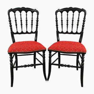 Französische Rote Napoleon III Stühle, Spätes 19. Jh., 2er Set