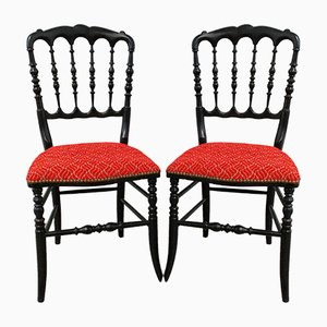 French Napoleon III Red Chairs, Late 19th Century, Set of 2