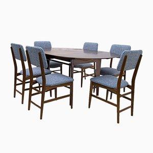 Italienischer Teak Esstisch und 6 Stühle von Edmondo Palutari für Dassi, 1950er, Set of 7
