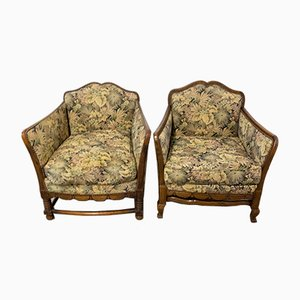 French Beech Armchairs, Early 20th Century, Set of 2