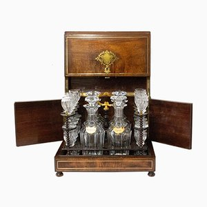 Napoleon III Liqueur Cabinet in Brass and Mahogany, 19th Century