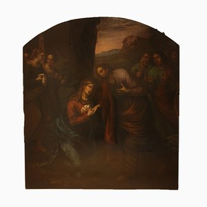 Large Oil Painting on Wood Panel Depicting Mary at the Holy Sepulchre with Evangelists, Late 1500s