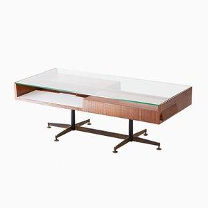 Geometrischer Niedriger Italienischer Tisch aus Mahagoni, 1950er