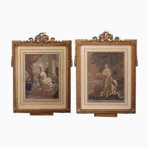 Antike Kupferstiche von Louis XVI und Marie Antoinette, 2er Set